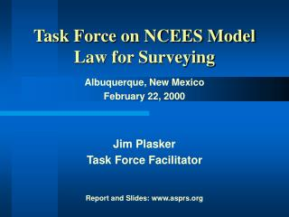 Task Force on NCEES Model Law for Surveying