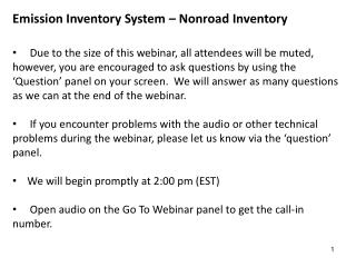 Emission Inventory System –  Nonroad  Inventory