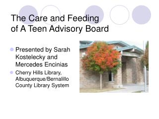 The Care and Feeding  of A Teen Advisory Board