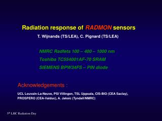 Radiation response of  RADMON  sensors