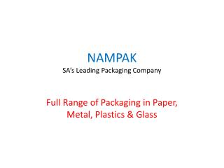 NAMPAK SA's Leading Packaging Company
