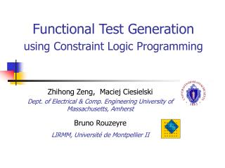 Functional Test Generation  using Constraint Logic Programming