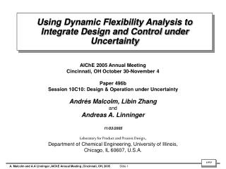 Using Dynamic Flexibility Analysis to Integrate Design and Control under Uncertainty