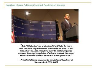 President Obama Addresses National Academy of Sciences
