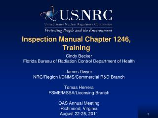 Inspection Manual Chapter 1246, Training
