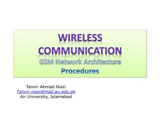 Wireless Communication GSM Network Architecture Procedures
