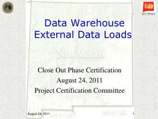 Data Warehouse  External Data Loads