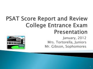 PSAT Score Report and Review College Entrance Exam Presentation