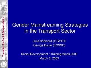 Gender Mainstreaming Strategies in the Transport Sector