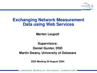 Exchanging Network Measurement Data using Web Services