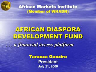 AFRICAN DIASPORA DEVELOPMENT FUND
