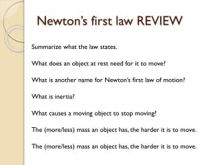 Newton's first law REVIEW