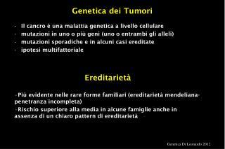 Genetica dei Tumori