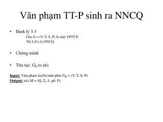 Văn phạm TT-P sinh ra NNCQ