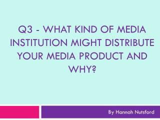 Q3  - What  kind of media institution might distribute your media product and why?