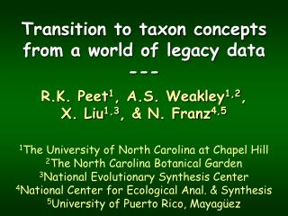Transition to taxon concepts from a world of legacy data ---