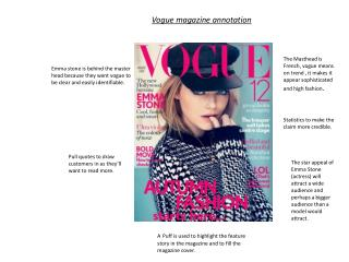 Vogue magazine annotation