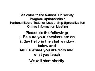Welcome to the National University  Program Options with a