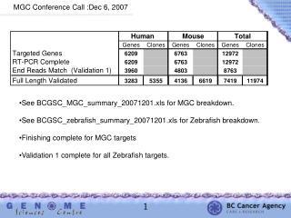 MGC Conference Call :Dec 6, 2007