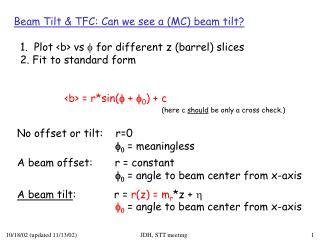 Beam Tilt & TFC: Can we see a (MC) beam tilt?