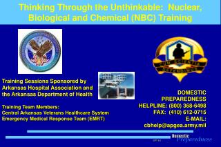 Thinking Through the Unthinkable:  Nuclear, Biological and Chemical (NBC) Training