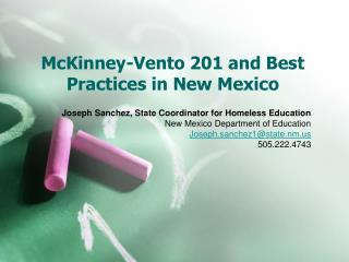 McKinney-Vento 201 and Best Practices in New Mexico
