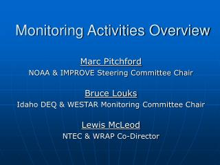 Monitoring Activities Overview