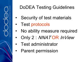DoDEA Testing Guidelines