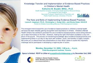 Knowledge Transfer and Implementation of Evidence-Based Practices in Children's Mental Health
