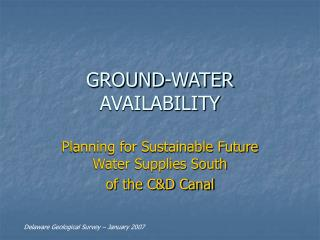 GROUND-WATER AVAILABILITY