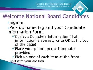 Welcome National Board Candidates
