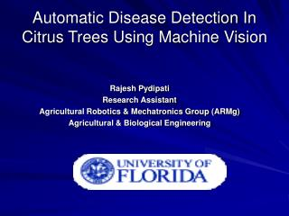 Automatic Disease Detection In Citrus Trees Using Machine Vision
