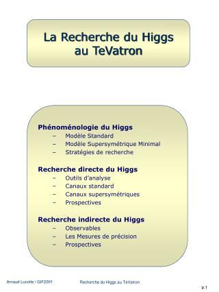 La Recherche du Higgs au TeVatron