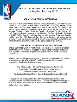 NBA ALL-STAR VENDOR DIVERSITY PROGRAM Los Angeles - February 20, 2011