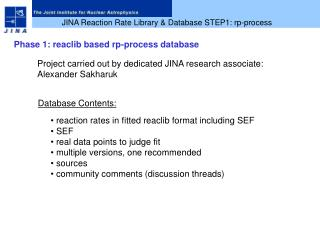 JINA Reaction Rate Library & Database STEP1: rp-process