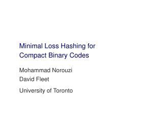 Minimal Loss Hashing for Compact Binary Codes