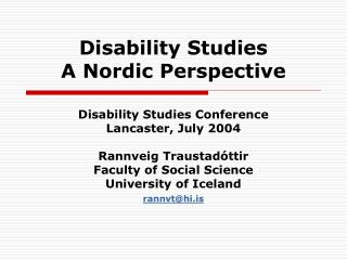 Disability Studies A Nordic Perspective