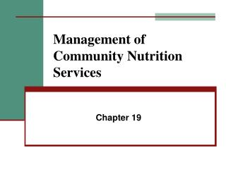 Management of Community Nutrition Services