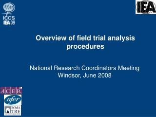 Overview of field trial analysis procedures