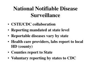 National Notifiable Disease Surveillance