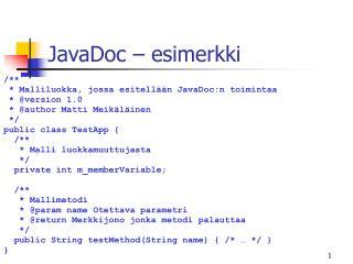 JavaDoc – esimerkki