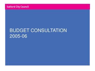 BUDGET CONSULTATION 2005-06