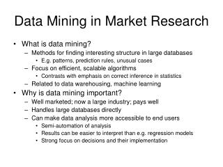 Data Mining in Market Research