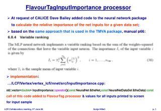 FlavourTagInputImportance processor