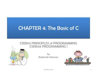 CHAPTER 4: The Basic of C