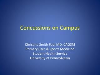 Concussions on Campus