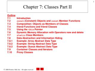Chapter 7: Classes Part II