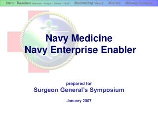Navy Medicine  Navy Enterprise Enabler prepared for Surgeon General's Symposium January 2007