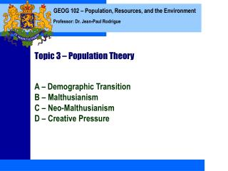 Topic 3 – Population Theory