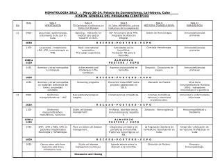 HEMATOLOGIA´2013   -  Mayo 20-24, Palacio de Convenciones, La Habana, Cuba